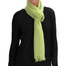 Johnstons of Elgin Extra-Fine Merino Wool Scarf (For Women) in Light Lime - Closeouts
