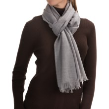 Johnstons of Elgin Extra-Fine Merino Wool Scarf (For Women) in Silver - Closeouts