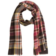 Johnstons of Elgin Extrafine Merino Wool Scarf (For Men and Women) in Brown/Orange Multi Plaid - Closeouts