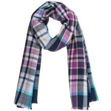 Johnstons of Elgin Extrafine Merino Wool Scarf (For Men and Women) in Navy/Purple Plaid - Closeouts
