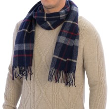 Johnstons of Elgin Fancy Plaid Scarf - Lambswool (For Men and Women) in Navy/Red/Camel - Closeouts