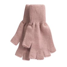 Johnstons of Elgin Fingerless Gloves - Cashmere (For Men and Women) in Peony - Closeouts
