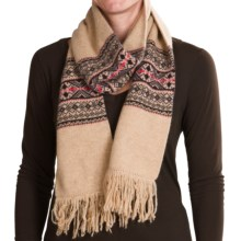 Johnstons of Elgin Folk Fair Isle Scarf - Fringe Trim (For Women) in Oatmeal W/Rosehip/Lichen/Plum - Closeouts