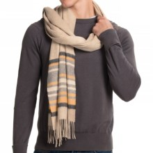 "Johnstons of Elgin Garvald Cashmere Scarf - 69x20"" (For Men) in Natural Muted Stripe - Closeouts"