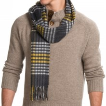 "Johnstons of Elgin Garvald Cashmere Scarf - 71x12"" (For Men) in Charcoal Grey/Yellow Sports Check - Closeouts"