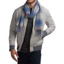 Johnstons of Elgin Garvald Midweight Cashmere Scarf (For Men and Women) in Blue Heatherered Check - Closeouts