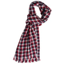 Johnstons of Elgin Gingham Scarf - Cashmere-Merino (For Men and Women) in Navy/Red/White - Closeouts
