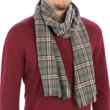 Johnstons of Elgin Heritage Check Scarf - Cashmere (For Men and Women) in Grey/Black - Closeouts