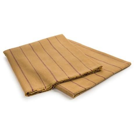 Johnstons of Elgin Holmwood Stripe Throw Blanket - Extrafine Merino Wool in Old Gold