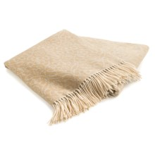 Johnstons of Elgin Jacquard Throw Blanket - Cashmere-Merino Wool in Biscuit - Closeouts