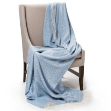 Johnstons of Elgin Jacquard Throw Blanket - Cashmere-Merino Wool in Glacier - Closeouts