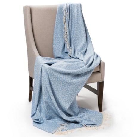 Johnstons of Elgin Jacquard Throw Blanket - Cashmere-Merino Wool in Lichen