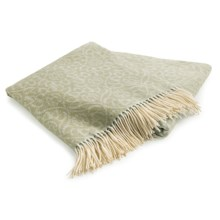 Johnstons of Elgin Jacquard Throw Blanket - Cashmere-Merino Wool in Lichen - Closeouts