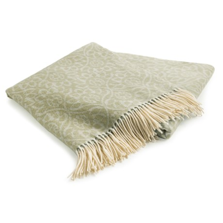 Johnstons of Elgin Jacquard Throw Blanket - Cashmere-Merino Wool in Lichen