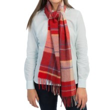 Johnstons of Elgin Lambswool Scarf - Bold Color (For Women) in Red Check - Closeouts