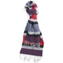 Johnstons of Elgin Lambswool Stripe Scarf (For Men) in Red/Denim Weft Stripe - Closeouts