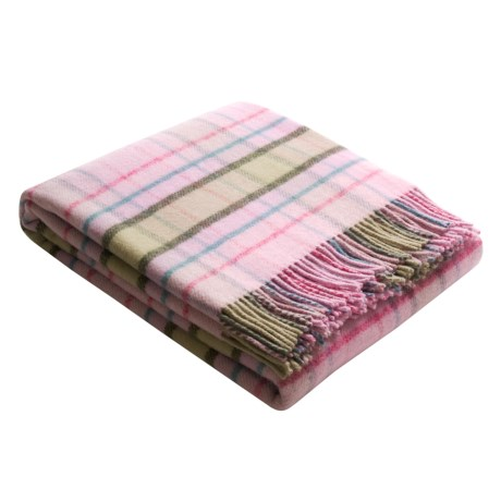 Johnstons of Elgin Lambswool Throw Blanket in Light Pink Multi