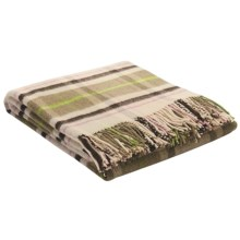 Johnstons of Elgin Lambswool Throw Blanket in Natural/Greens/Brown/Pink  Windowpane - Closeouts