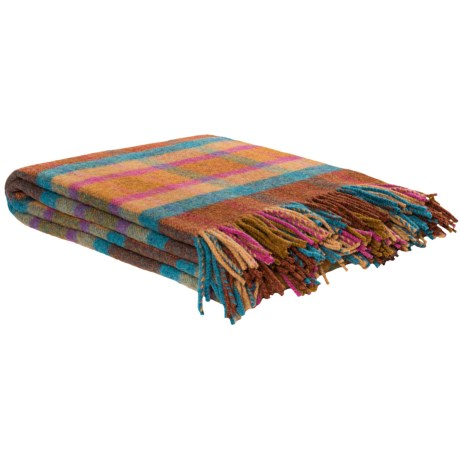 Johnstons of Elgin Lambswool Throw Blanket in Natural/Sky Blue/Hot Pink