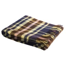 Johnstons of Elgin Lambswool Throw Blanket in Navy/Brown/Yellow - Closeouts