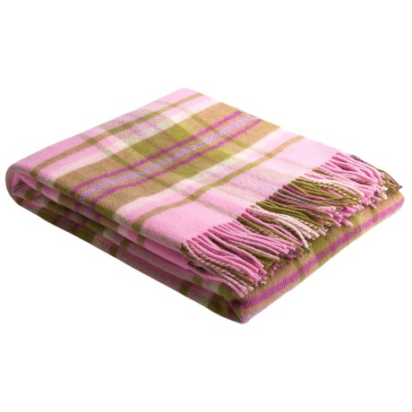Johnstons of Elgin Lambswool Throw Blanket in Pink/Olive/Burgundy