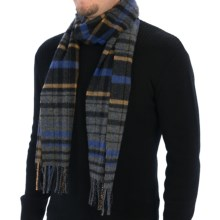 Johnstons of Elgin Large Check Scarf - Wool (For Men and Women) in Charcoal/Blue/Ochre - Closeouts