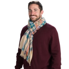 """Johnstons of Elgin Lightweight Cashmere Stole Scarf - 79x28"""" (For Women) in Oatmeal W/Coral/Teal - Closeouts"""