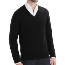 Johnstons of Elgin Lightweight Cashmere Sweater - V-Neck (For Men) in Black - Closeouts