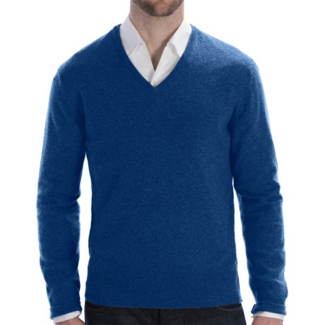 Johnstons of Elgin Lightweight Cashmere Sweater - V-Neck (For Men) in Blue Mix