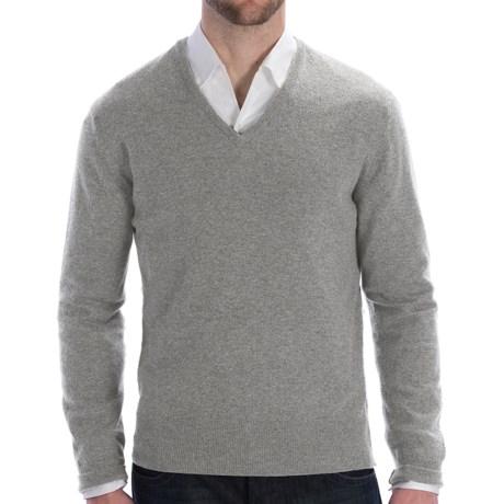 Johnstons of Elgin Lightweight Cashmere Sweater - V-Neck (For Men) in Blue Mix