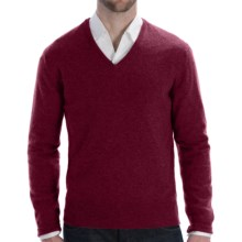 Johnstons of Elgin Lightweight Cashmere Sweater - V-Neck (For Men) in Damson Red - Closeouts