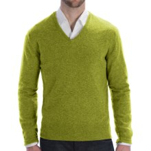 Johnstons of Elgin Lightweight Cashmere Sweater - V-Neck (For Men) in Moss - Closeouts