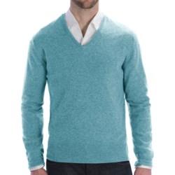 Johnstons of Elgin Lightweight Cashmere Sweater - V-Neck (For Men) in Turquoise