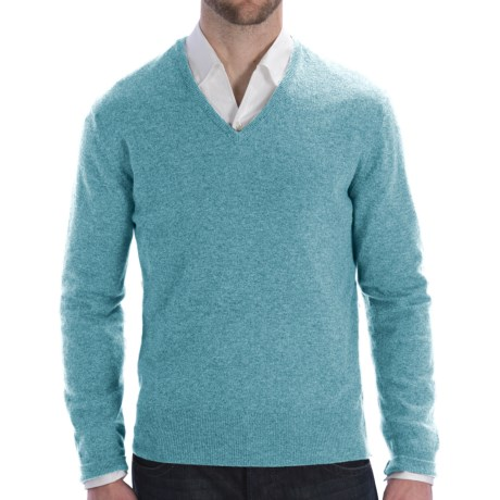 Johnstons of Elgin Lightweight Cashmere Sweater - V-Neck (For Men) in Turquoise
