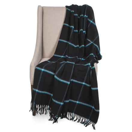 """Johnstons of Elgin Limited Edition Lambswool Blanket - 55x67"""" in Black/White Block - Closeouts"""