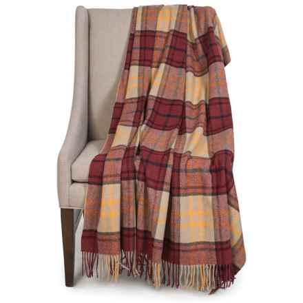 """Johnstons of Elgin Limited Edition Lambswool Blanket - 55x67"""" in Brick/White Plaid - Closeouts"""
