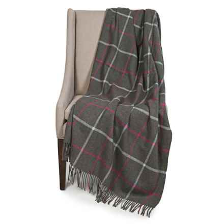 "Johnstons of Elgin Limited Edition Lambswool Blanket - 55x67"" in Charcoal/Pink/White Plaid - Closeouts"