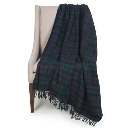 "Johnstons of Elgin Limited Edition Lambswool Blanket - 55x67"" in Navy/Green/Black Plaid - Closeouts"