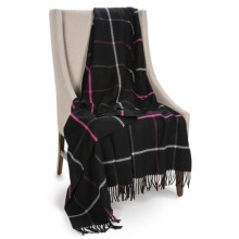 "Johnstons of Elgin Limited Edition Lambswool Blanket - 67x55"" in Black/Ivory/Pink - Closeouts"