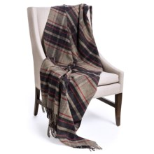 "Johnstons of Elgin Limited Edition Lambswool Blanket - 67x55"" in Brown/Grey/Navy/Red - Closeouts"