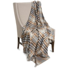 """Johnstons of Elgin Limited Edition Lambswool Blanket - 67x55"""" in Camel / Light Blue Plaid - Closeouts"""