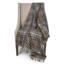 "Johnstons of Elgin Limited Edition Lambswool Blanket - 67x55"" in Gray/Blue/Black Plaid - Closeouts"