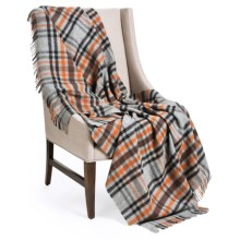 """Johnstons of Elgin Limited Edition Lambswool Blanket - 67x55"""" in Grey, Black & Orange - Closeouts"""