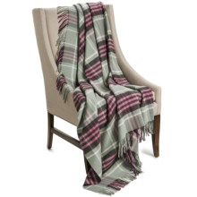 "Johnstons of Elgin Limited Edition Lambswool Blanket - 67x55"" in Grey / Black / Pink - Closeouts"