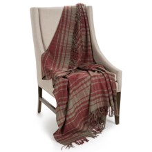 """Johnstons of Elgin Limited Edition Lambswool Blanket - 67x55"""" in Grey/Persimmons Plaid - Closeouts"""