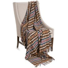 """Johnstons of Elgin Limited Edition Lambswool Blanket - 67x55"""" in Honey / Black / Grey Plaid - Closeouts"""