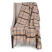 """Johnstons of Elgin Limited Edition Lambswool Blanket - 67x55"""" in Ivory/Blue Plaid - Closeouts"""