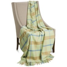 "Johnstons of Elgin Limited Edition Lambswool Blanket - 67x55"" in Light Green/Blue/Brown - Closeouts"
