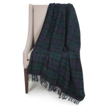 "Johnstons of Elgin Limited Edition Lambswool Blanket - 67x55"" in Navy/Green/Black Plaid - Closeouts"