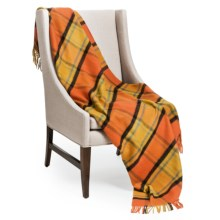 "Johnstons of Elgin Limited Edition Lambswool Blanket - 67x55"" in Orange, Mustard & Black - Closeouts"